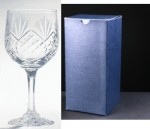 * SALE* Durham Crystal Engraved Wine Glasses With Engravable Panel In Blue Cardboard Box