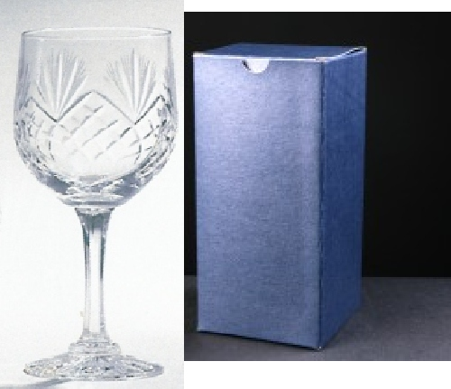 * SALE* Durham Crystal Engraved Wine Glasses With Engravable Panel In Blue Cardboard Box 1