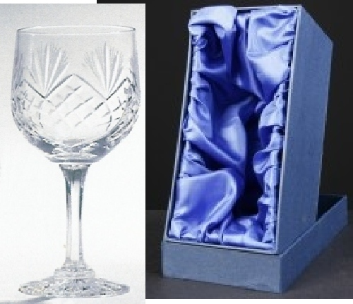 * SALE* Durham Crystal Engraved Wine Glasses With Engravable Panel In Presentation Box 1