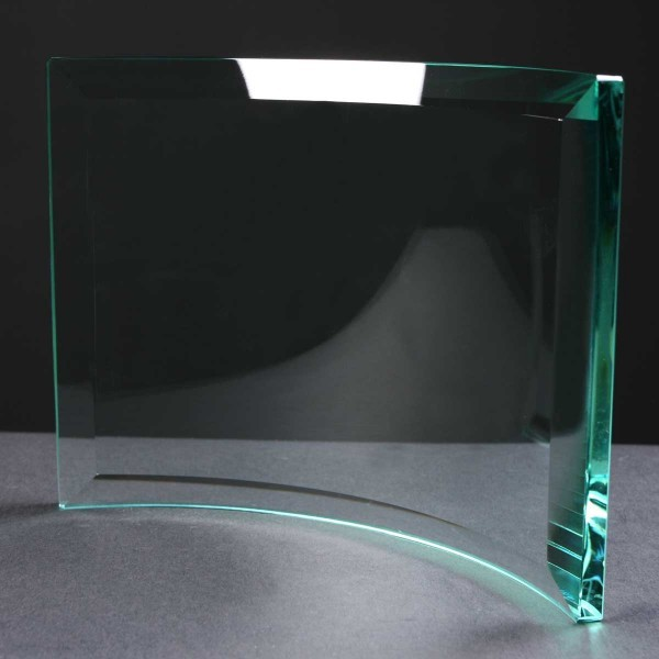 10mm thick Curved Engraved Glass Award Supplied In White Cardboard Box. Price Includes Engraving