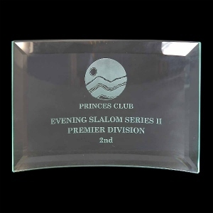 Curved Glass Awards Supplied In White Cardboard Box. Price Includes Engraving