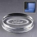 Engraved Oval Glass Paperweights Supplied In A Blue Cardboard Box. Price Includes Engraving.