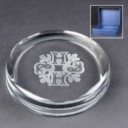 Engraved Round Glass Paperweights Supplied In A Blue Cardboard Box. Price Includes Engraving