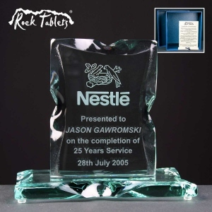 Portrait Rock Tablet Glass Awards Supplied In A Branded Box. Price Includes Engraving