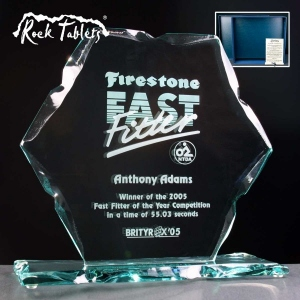 Hexagon Rock Tablet Glass Awards. Supplied In A Branded Box. Price Includes Engraving