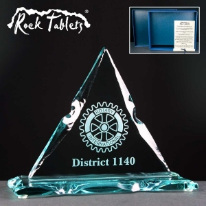 Triangle Rock Tablet Glass Awards Supplied In A Branded Box. Price Includes Engraving