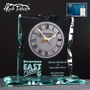 Rock Tablet Glass Clock Supplied In A Branded Box. Price Includes Engraving