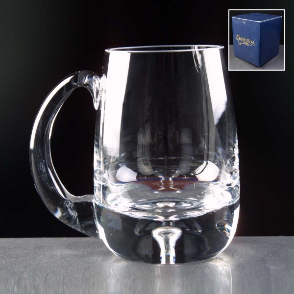 Balmoral Bubble Based Engraved Glass Tankards Supplied In A Blue Cardboard Box. Price Includes Engraving