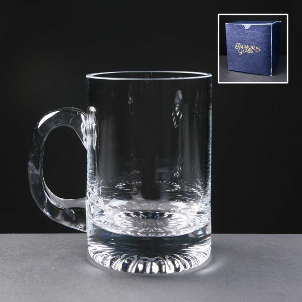Balmoral Engraved Glass Tankards In Blue Cardboard Box. Price Includes Engraving