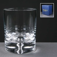 Balmoral Glass Bubble Based Engraved Whisky Glasses In Blue Cardboard Box 1