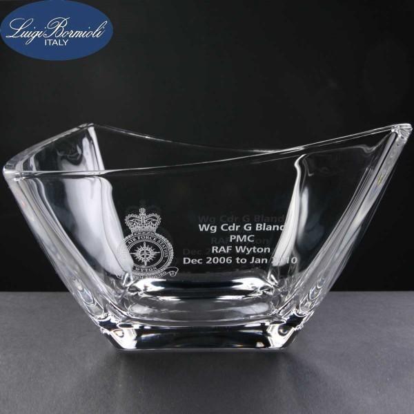 Luigi Bormioli Michaelangelo Engraved Glass Bowl Supplied In A Cardboard Box. Price Includes Engraving