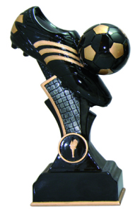Resin Football Trophies In Black And Antique Gold Coloured Finish 1