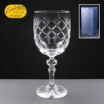 Earle Crystal Wine Glass  With Panel For Engraving In Blue Cardboard Gift Box