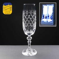 2x Earle Crystal Engraved Champagne Glasses With Panel For Engraving In Presentation Box 1