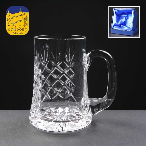 Engraved Earle Crystal Tankards With Panel For Engraving Supplied In A Satin Lined Presentation Box