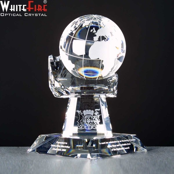 Whitefire Crystal Globe In Hand Awards Supplied In A Velvet  Lined Presentation Case. Price Includes Engraving