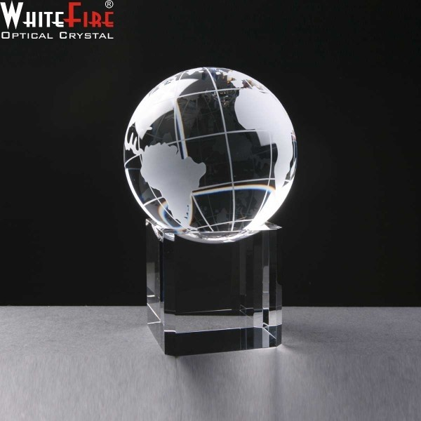 Whitefire Crystal Globe Awards Mounted On Base. Supplied In A Velvet Lined Presentation Case