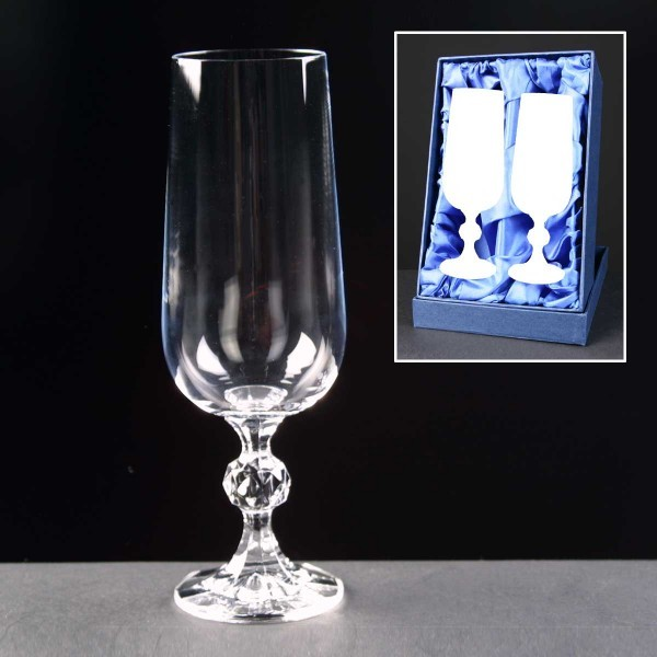 2x Claudia Engraved Champagne Glasses In Presentation Box 1