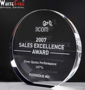 Whitefire Wedge Circle Crystal  Awards Supplied In Velvet Lined Presentation Case