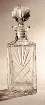 *SALE* Durham Crystal Square Decanter With Panel For Engraving  In White Cardboard Box 1
