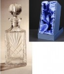 *SALE* Durham Crystal Square Decanter With Panel For Engraving In Presentation Box