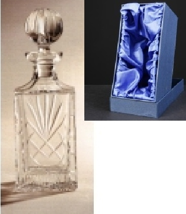 *SALE* Durham Crystal Square Decanter With Panel For Engraving In Presentation Box 1