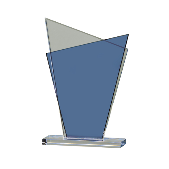 Glass Awards With Blue Glass Detail Supplied In White Cardboard Box 1