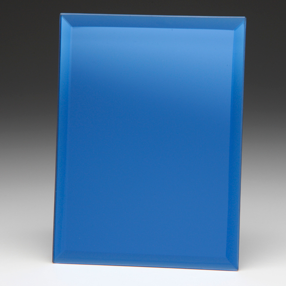 Rectangle Shaped Mirrored Blue Glass Awards Supplied In White Cardboard Box 1