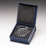 Round Engraved Crystal Paperweights Supplied In Presentation Box. Price Includes Engraving.