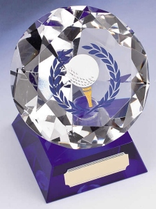 Golf Trophies With Blue Tinted Glass Base 1