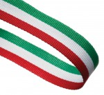 Red / White / Green Woven Medal Ribbons With Clip