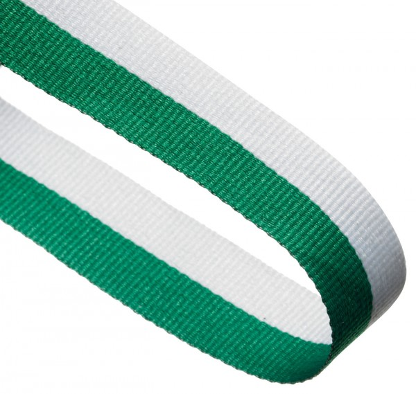 Green / White Woven Medal Ribbons With Clip 1