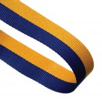 Blue / Yellow Woven Medal Ribbons With Clip