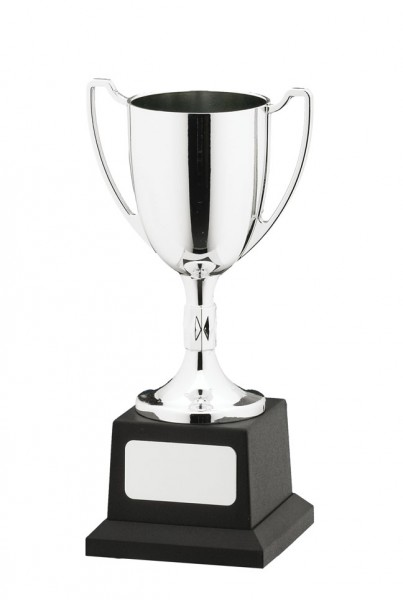 Silver Coloured Cast Trophy Cups On Heavy Black Plastic Base 1