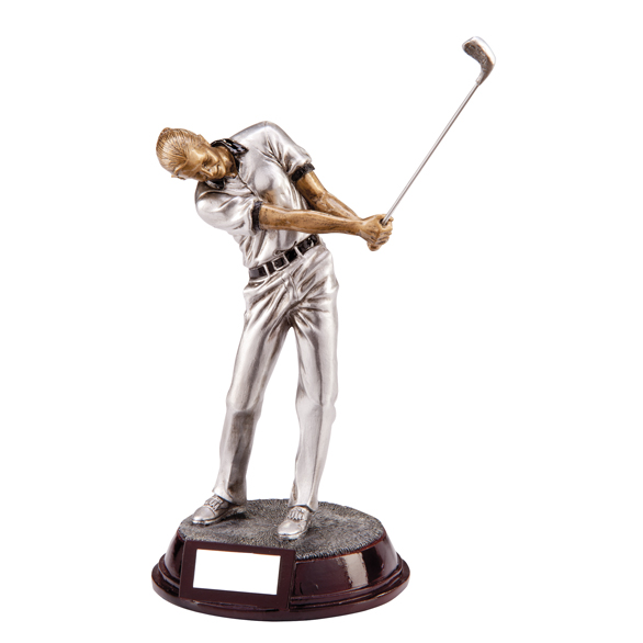Female Resin Golf Trophies In Antique Silver Coloured Finish 1