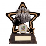 Resin Ten Pin Bowling Trophies In Antique Gold And Black Coloured Finish