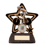 Resin Cycling Trophies In Antique Gold And Black Coloured Finish