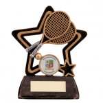 Resin Tennis Trophies In Antique Gold And Black Coloured Finish