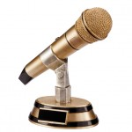 Resin Karaoke / Presenting Microphone Trophies In Antique Gold Coloured Finish