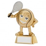 Smiley Resin Tennis Trophies In Antique Gold Coloured Finish