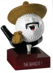 """""""The Bandit"""" Comic Golf Ball Trophies On Wooden Base"""