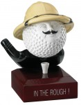 """""""In The Rough"""" Comic Golf Ball Trophies On Wooden Base"""