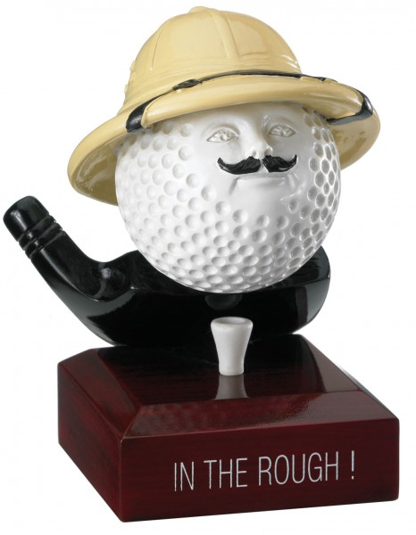 """In The Rough"" Comic Golf Ball Trophies On Wooden Base 1"