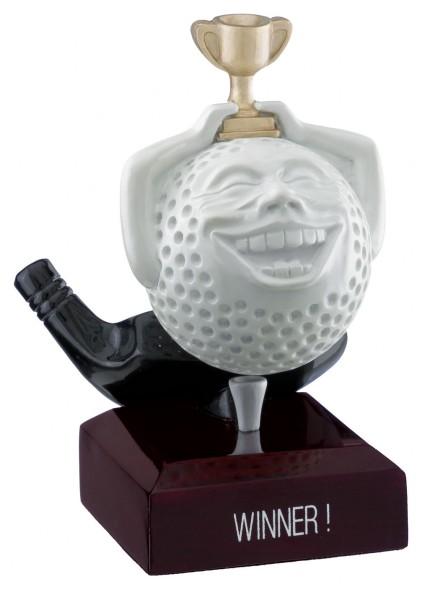 """Winner"" Comic Golf Ball Trophies On Wooden Base 1"