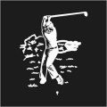 Male Swinging Golfer Logo