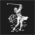 Female Swinging Golfer Logo
