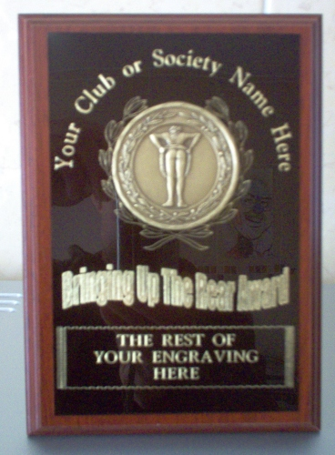 Golf Trophy – Bringing Up The Rear Wooden Plaque 1