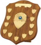 Beech Coloured Wooden Annual Shields With Gold Trims