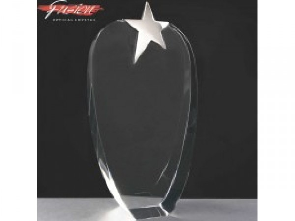 Fusion Crystal Awards With Chrome Star Supplied In Velvet Lined Presentation Case. Price Includes Engraving