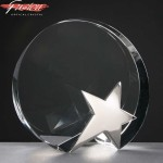 Circle Fusion Crystal Awards With Chrome Star Supplied In Velvet Lined Presentation Case. Price Includes Engraving.